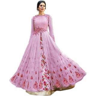 Florence Women's Pink Georgette Semi Stitched anarkali Style Salwar Suit