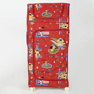 MDN Baby 4 Shelves Folding Wardrobe Plastic (Red)