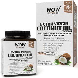 Wow Life Science Extra Virgin Coconut Oil 60 Softgel Capsules