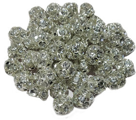 Stylewell (Pack Of 100 pcs) Jarkan Silver Balls Pearl Bead Stone For Jewellery Beading,Decorations,Arts And Craftworks