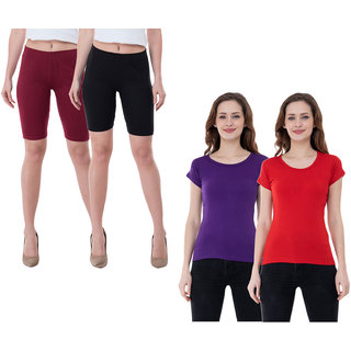 KAVYA Women Cotton Solid Half Sleeves T-Shirts and Cycling Shorts (Pack of 4)