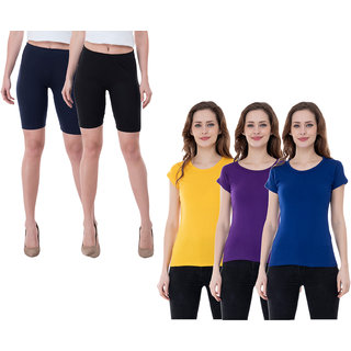 KAVYA Women Cotton Solid Half Sleeves T-Shirts and Cycling Shorts (Pack of 5)