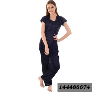 women satin nightwear night suit hip length top and pajama set SL031