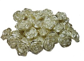Stylewell (Pack Of 500 Gram) 25mm Golden Shell Flower Pearl Bead For Jewellery Beading,Decorations, Arts And Craftworks