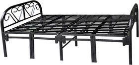 Sahni Folding Single Bed in Mild Steel - Black color, Strong, Portable, Easy to Use, 150kg load capacity