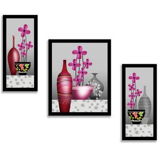 Madhav Art Set of 3 Flower  Digital Reprint Painting