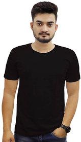 The Chambal Black Round Neck Plain T-Shirt
