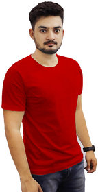 The Chambal Red Round Neck Plain T-Shirt