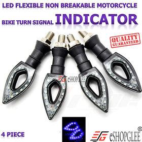 Eshopglee Universal 4 Pcs Paan Style Motorbike Motorcycle Blue Led Turn Signal Indicators Light Lamp for All Bikes