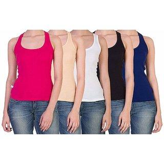 Vansh fashion Camisole for women's and Girls Combo of 5 Magenta,Skin,Black,White,Navy