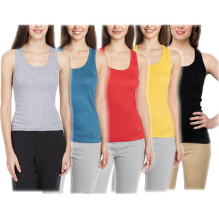 Vansh fashion Camisole for women's and Girls Combo of 5 Blue,Yellow,Red,Black,Grey