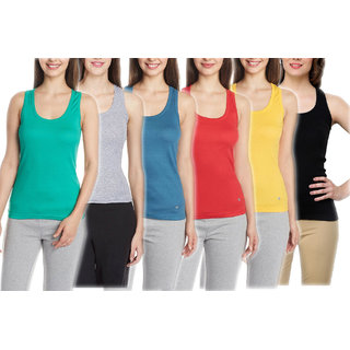 Vansh fashion Camisole for women's and Girls Combo of 6 Blue,Yellow,Red,Black,Grey,Green