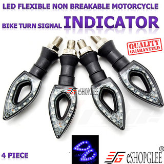 4PC 12V LED FLEXIBLE NON BREAKABLE MOTORCYCLE BIKE TURN SIGNAL INDICATOR LIGHT TURNING LAMP (BLUE)