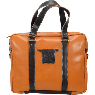 Urbanity Canvas and Leather 17 Inch Tan Laptop Briefcase Messenger Bag