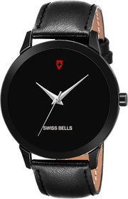 Svviss Bells Original Black Dial Black Leather Strap Analog Wrist Watch for Men - SB-02