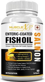MuscleXP Salmon Fish Oil 1000mg - 300mg Omega 3 - 60 Enteric Coated Soft Gels