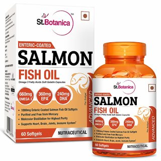 StBotanica Salmon Fish Oil 1000mg Double Strength 660mg Omega 3 Advanced - 60 Enteric Coated Softgels