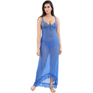 Be You Blue Power Net Women Nighty With Panty