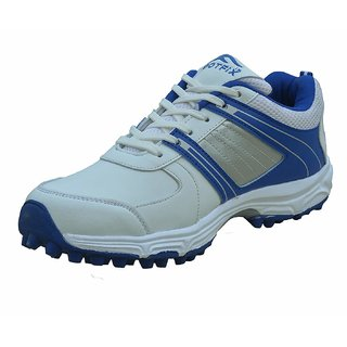 FOOTFIX Radius Men's White Blue PU Rubber Spike Cricket Shoes