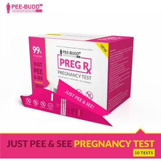 PeeBuddy PregRx Pregnancy Test Strips in Funnel -No dropper or container required - 10 Funnels