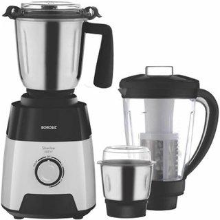 Borosil Silverline 600 W Mixer Grinder (Black and White 3 Jars)