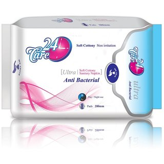 Elite 24 Care Ultra Anti Bacterial XL Pack 1 Of 8 Sanitary Napkins Pads