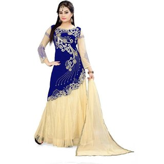 TexStile Blue Colour Velvet Net Lehenga Choli For Women's
