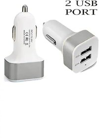 Two port Dual USB Car USB Mobile charger 12 v (Silver White)