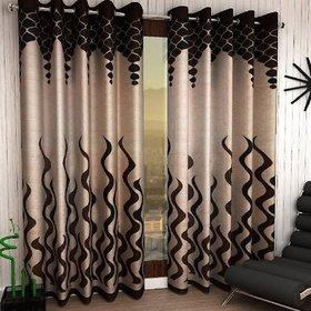 Tejashwi Traders Fire Coffee Door curtain set of 2 (4x7)
