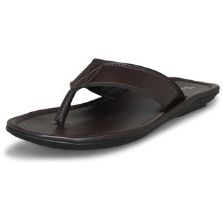 Lavista Men's Brown Synthetic Leather Stylish Slippers