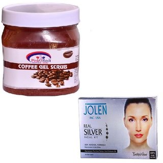 PINK ROOT COFFEE GEL SCRUB 500GM WITH JOLEN REAL SILVER FACIAL KIT 50GM