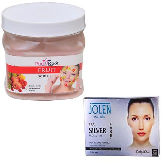 PINK ROOT FRUIT SCRUB 500GM WITH JOLEN REAL SILVER FACIAL KIT 50GM