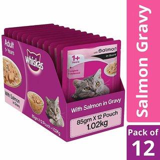 Whiskas Adult Wet Cat Food, Salmon in Gravy ,85 g (Pack of 12)