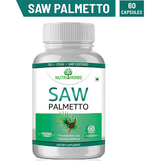 Nutriherbs Saw Palmetto Extract  for Hairs  450 mg- 60 Vegan Capsules  Herbal Supplement
