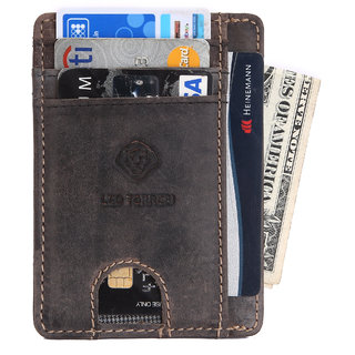 LEO TORRESI Genuine Crazy Horse Card wallet with RFID Protection, Black with Push
