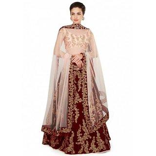 New Latest Bollywood Designer Pink Belt Maroon Embroidered Lehenga Choli
