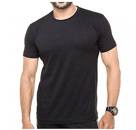 Round-Neck Basic Muscle Fitted Plain T-Shirt - Black
