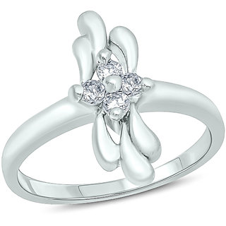 18K White Gold Fn CZ Sterling Silver Ring For Womens Girls Jewellery