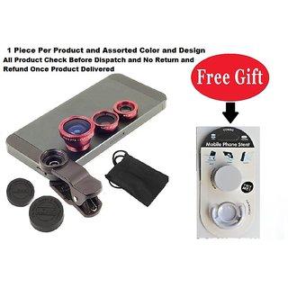 Mobile camera Lens 3 in 1 with free POP Socket Holder (Assorted Design )