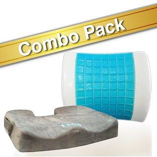 Bael Wellness seat cushion for sciatica coccyx tailbone back pain lumbar support gel enhanced cushion combo pack