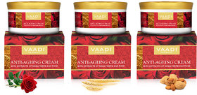 Vaadi Herbals Anti Ageing Wrinkle Cream with extracts of Almonds, Wheatgerm and Rose (Pack of 03 x 150gms)