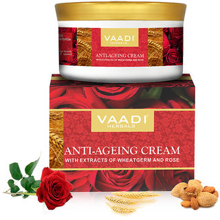 Vaadi Herbals Anti Ageing Cream with extracts of Almonds Wheatgerm and Rose (150gms x 1)