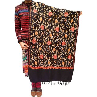 Varun Cloth House Womens Woollen Kashmiri Embroided Stole (vch6133, Black, Free Size)