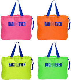 Bagforever Pack Of 4 Multicolor Foldable Shopping Bags 6 Months Warranty