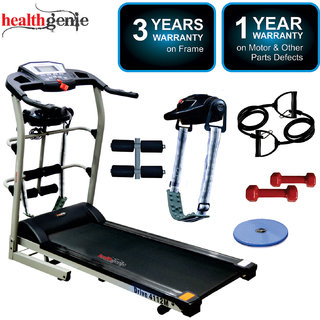 Healthgenie 6in1 Motorized Treadmill 4112M 2HP (4 HP at Peak) with Massager for Home Use Fitness Max Speed 14 Kmph.