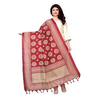 Swaron Maroon Bhagalpuri Silk Printed Dupatta