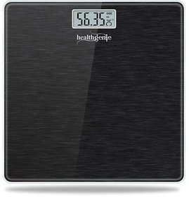 Healthgenie Electronic Digital Weighing Machine Bathroom Personal Weighing Scale, Max Weight  180 Kgs Weighing Scale (Brushed Black)