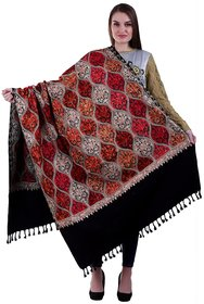 Varun Cloth House Womens Woollen Kashmiri Embroided Shawl (vch6147, Black, Free Size)