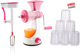 Ankur Master Kitchen Combo Pack of Manual Juicer,Power free Hand blender+ Free 6 Glasses , Pink