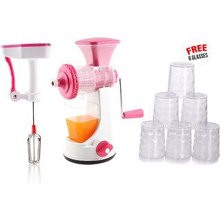 Ankur Master Kitchen Combo Pack of Manual Juicer Power free Hand blender+ Free 6 Glasses  Pink